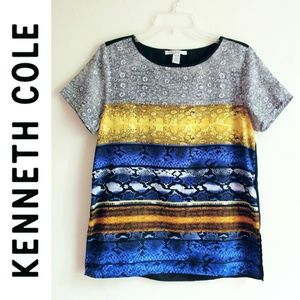 Kenneth Cole Colorful Short Sleve Stripe Top
